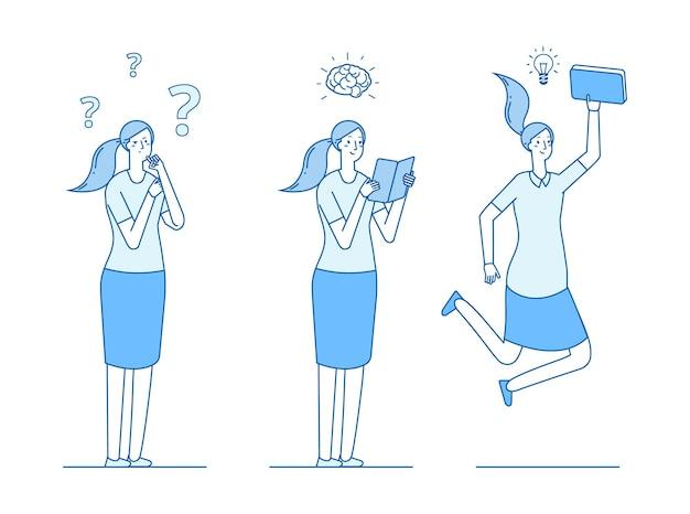 Chica busca respuestas a preguntas. leer y aprender, buscar ideas y soluciones