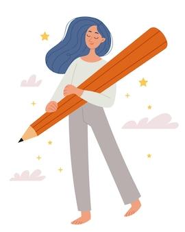 Chica con cabello azul sosteniendo un lápiz grande