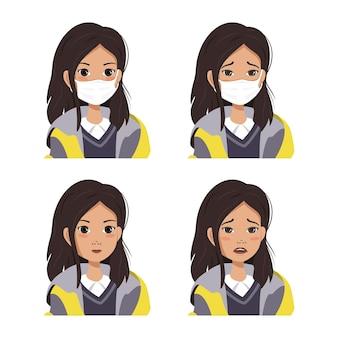 Una chica de cabello oscuro con un abrigo con emociones de alegría y tristeza. un set con y sin mascarillas médicas.