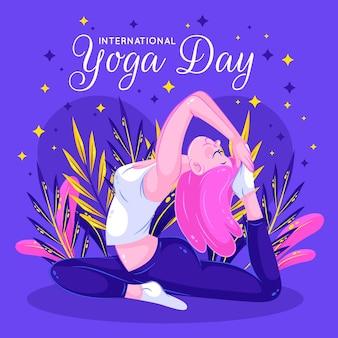 Chica con cabello rosado día internacional del yoga