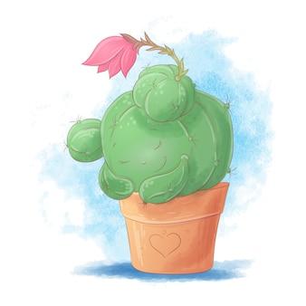 Chica de cactus de dibujos animados lindo durmiendo en una olla.