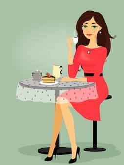 Chica en el café, promoción en blanco
