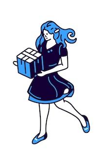 Chica con caja de regalo en las manos, icono de ilustración vectorial isométrica