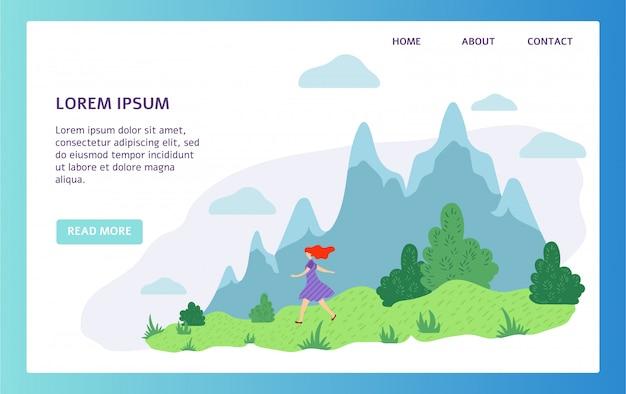 Chica caminando en la naturaleza, diseño de sitio web de vacaciones de senderismo de montaña, ilustración vectorial