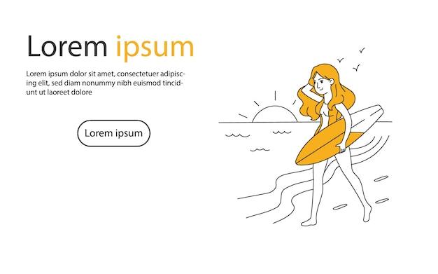 Chica caminando en la playa con tabla de surf ilustración vectorial