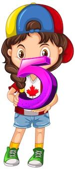 Chica canadiense con gorra sosteniendo matemáticas número cinco