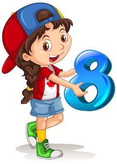 Chica canadiense con gorra sosteniendo matemáticas número ocho
