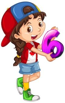 Chica canadiense con gorra sosteniendo matemáticas número seis