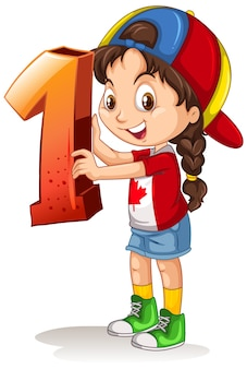 Chica canadiense con gorra sosteniendo matemáticas número uno