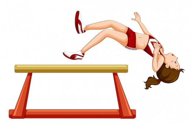 Chica cayendo de la viga gimnástica