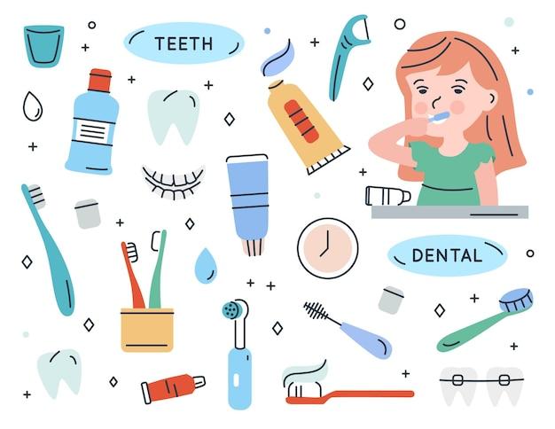 Chica cepillarse los dientes conjunto de elementos para limpiar los dientes