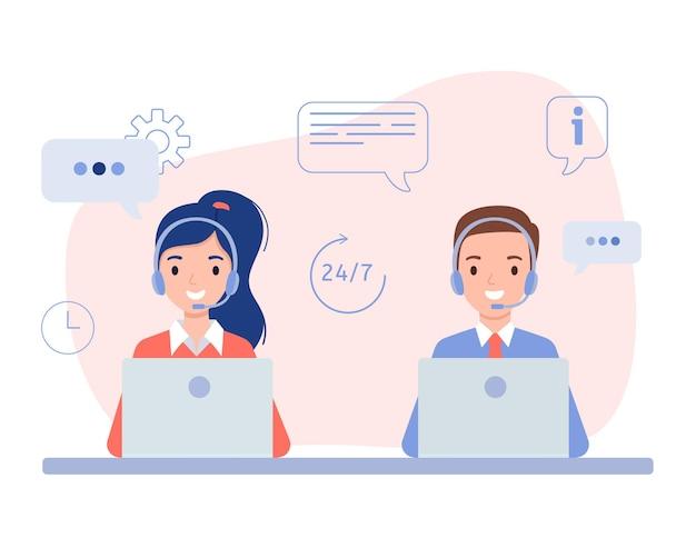 Una chica y un chico en auriculares, el concepto de un centro de llamadas y atención al cliente en línea. ilustración en estilo plano.