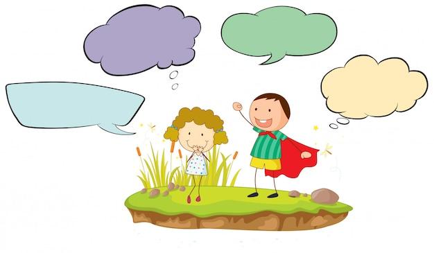 Chica y chico con burbujas de discurso