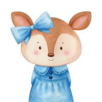 Chica ciervo en un dulce vestido azul y un lazo. Ilustración acuarela de lindo personaje. Aislado