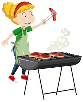 Chica cocinando estilo de dibujos animados de bistec a la parrilla aislado sobre fondo blanco.