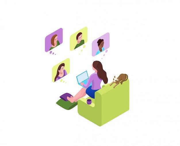Chica se comunica con colegas, reunión virtual colectiva