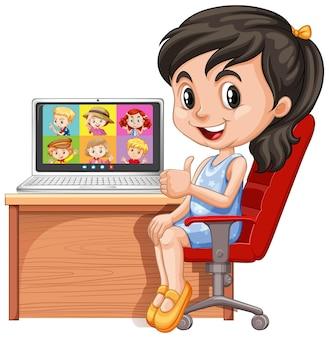 Chica comunicarse por videoconferencia con amigos sobre fondo blanco.