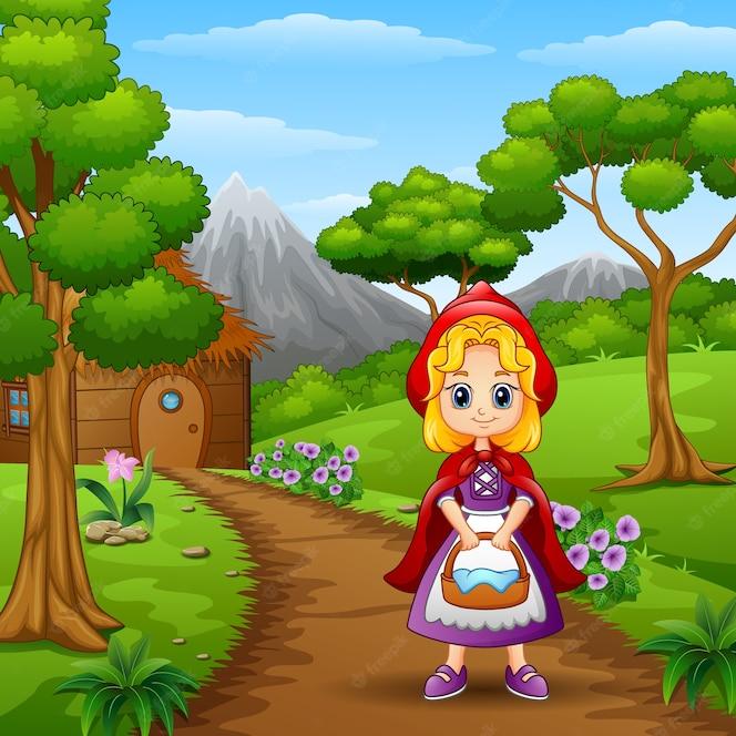 Chica con capucha roja están en el pueblo en el bosque
