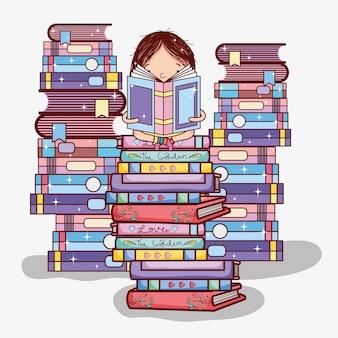 Chica con dibujos animados apilados libros