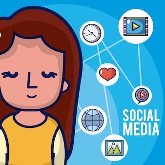 Chica con iconos de redes sociales