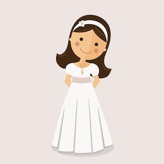 Chica con vestido de comunión sobre fondo ocre