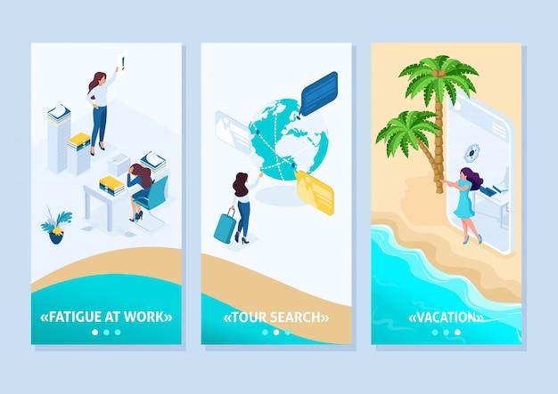 Chica de concepto de aplicación de plantilla isométrica va de la oficina a las vacaciones a través de tabletas, aplicaciones de teléfonos inteligentes