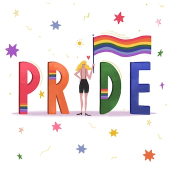 Chica del concepto del día del orgullo con bandera