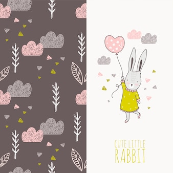 Chica de conejo dibujado mano con tarjeta de globo