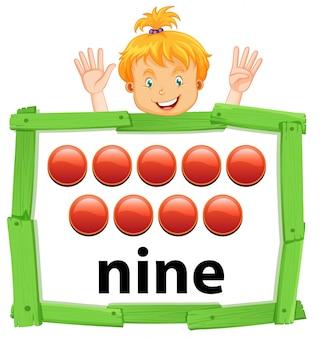 Chica contando el número nueve