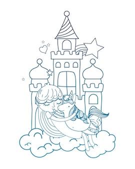 Chica de contorno degradado abrazando lindo unicornio en el castillo