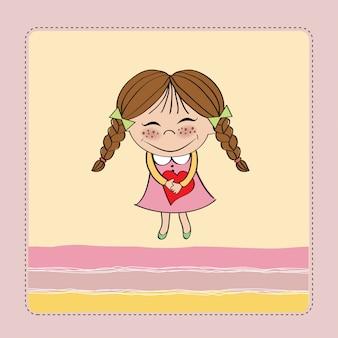 Chica con el corazón. tarjeta del día de san valentín
