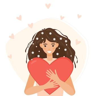 Chica con corazones flotando alrededor abraza una ilustración de corazón rojo