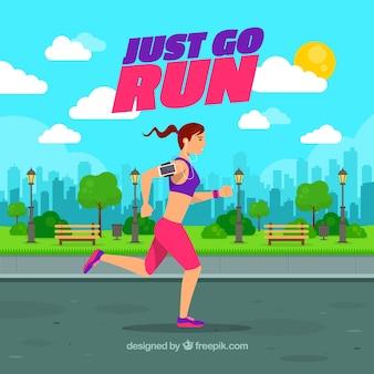 Chica corriendo cerca del parque