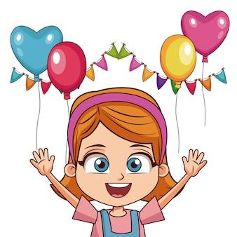 Chica en cumpleaños con globos y banderines