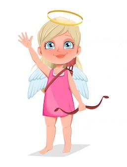 Chica cupido con arco, personaje de dibujos animados lindo