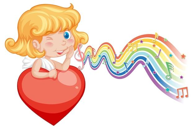Chica de cupido con corazón con símbolos de melodía en la onda del arco iris