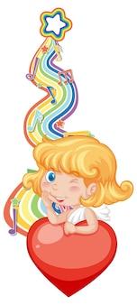 Chica de cupido con símbolos de melodía en la onda del arco iris