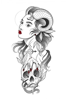 Chica demonio con un cráneo humano en la mano