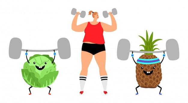 Chica deportiva y frutas