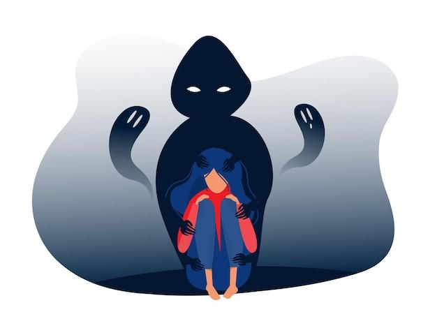 Chica deprimida con ansiedad y fantasías aterradoras que sienten dolor, miedos, tristeza, ilustración vectorial