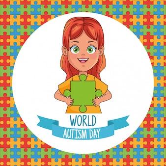 Chica del día mundial del autismo con piezas de rompecabezas, diseño de ilustraciones vectoriales