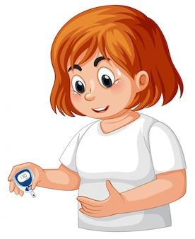 Chica con diabetes revisando la glucosa en sangre