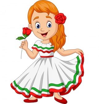 Chica de dibujos animados bailando, celebración del cinco de mayo.