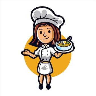 Chica de dibujos animados cocinero