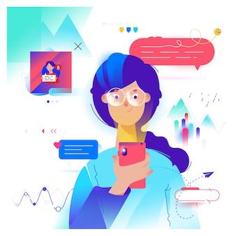 Chica de dibujos animados se comunica por teléfono en el messenger.