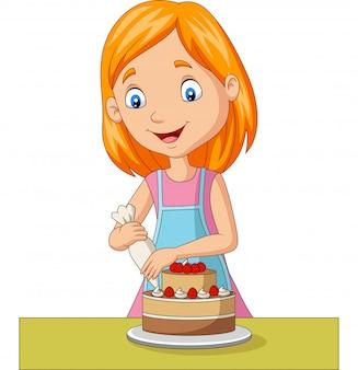 Chica de dibujos animados decorando un pastel
