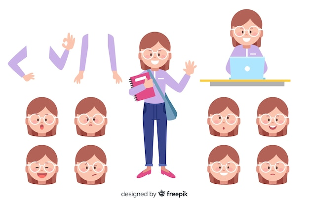 Chica dibujos animados para diseño en movimiento