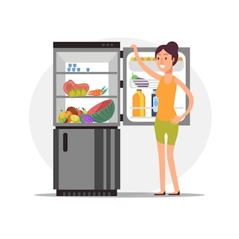 Chica de dibujos animados de fitness en la nevera con comida sana