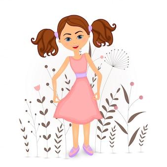 Chica de dibujos animados con flores decorativas con ramas y plantas.