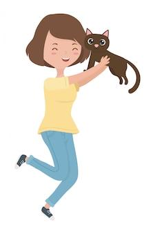 Chica con dibujos animados de gato